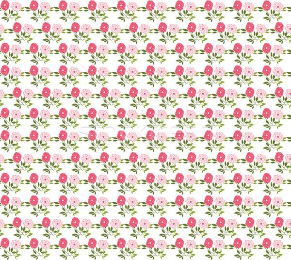 Vektor végtelen minta rózsaszín virágok zöld levelek fehér Stock fotó © Pravokrugulnik