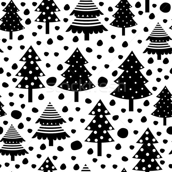 Stock photo: Vector seamless pattern with Christmas trees in black and white