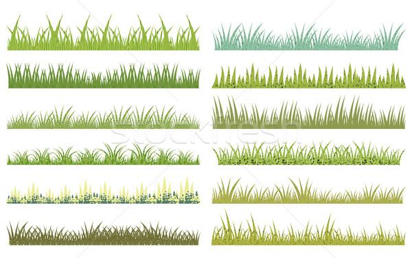 Vízszintes vektor rajz zöld fű textúra fehér Stock fotó © Pravokrugulnik