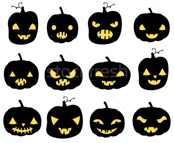 Vector set with carved Halloween pumpkins silhouettes Stock photo © Pravokrugulnik