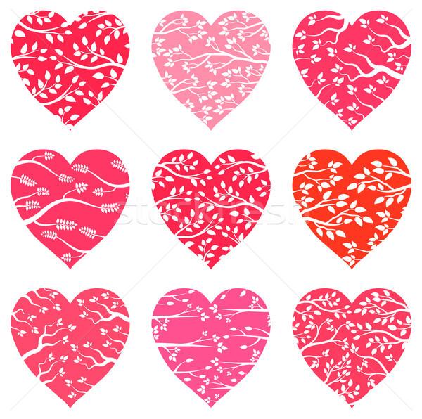 Vetor coração silhueta padrões saudação Foto stock © Pravokrugulnik
