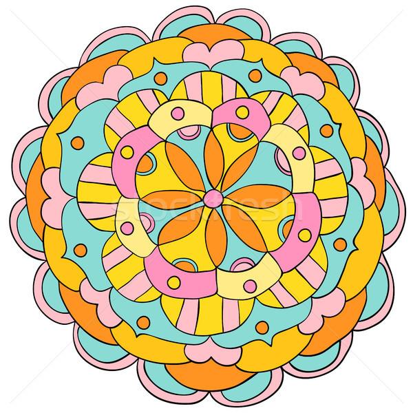 Vector hand drawn floral mandala ornament in bright, bold colors for children clothing, meditation a Stock photo © Pravokrugulnik