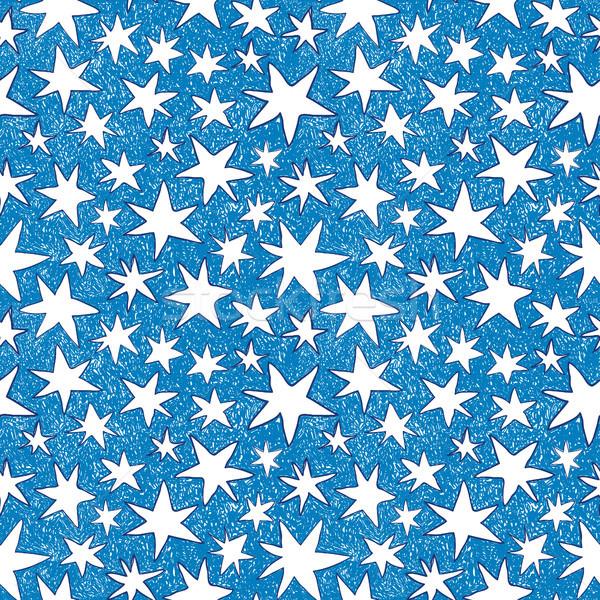 Vector star seamless pattern in doodle style Stock photo © Pravokrugulnik