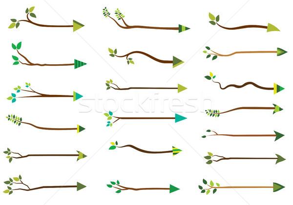 Vektor Ast Pfeile grüne Blätter natürlichen Stock foto © Pravokrugulnik