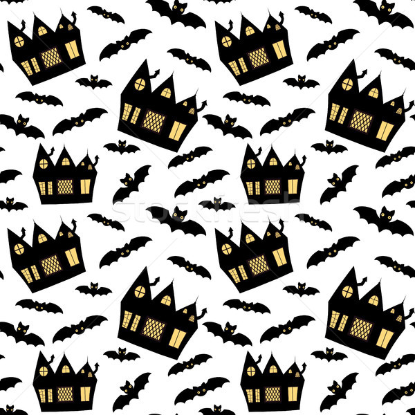 Cute vector seamless pattern in flat style for Halloween with haunted houses and bats on white backg Stock photo © Pravokrugulnik
