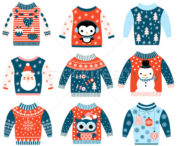 Winter and Christmas vector ugly and cute sweaters in flat style  Stock photo © Pravokrugulnik