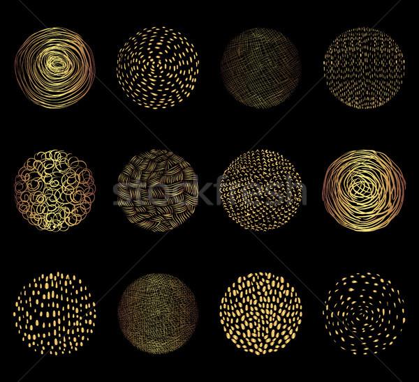 Stock fotó: Kézzel · rajzolt · arany · vektor · textúra · körök · grafikai · tervezés