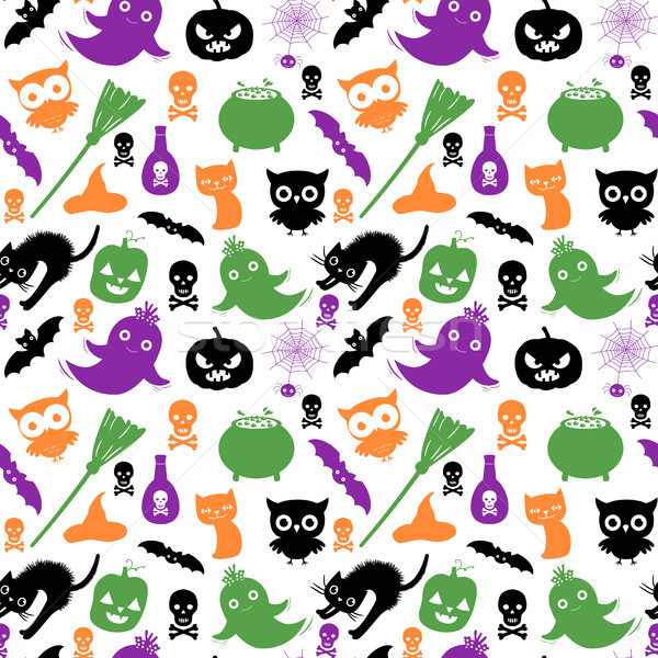 Cute and fun vector seamless pattern with silhouettes in black, green, orange and purple colors for  Stock photo © Pravokrugulnik