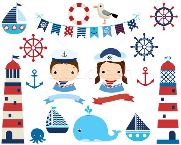 Cute nautical set with girl and boy, lighthouses  Stock photo © Pravokrugulnik