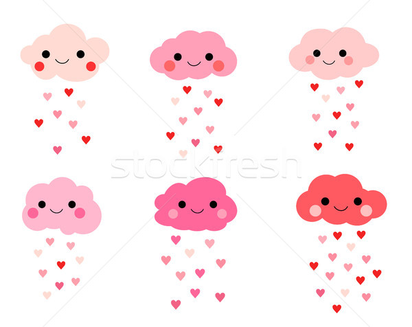 Cute vector smiling clouds in pink colors with raindrops Stock photo © Pravokrugulnik