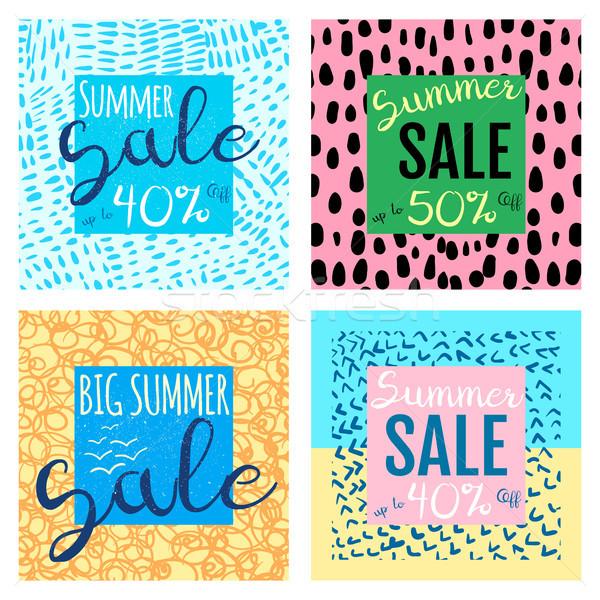 Vector summer sale banners templates for shop promotions Stock photo © Pravokrugulnik