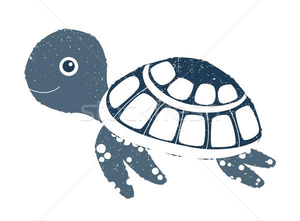 Cute vector sea turtle illustration with texture for summer  Stock photo © Pravokrugulnik