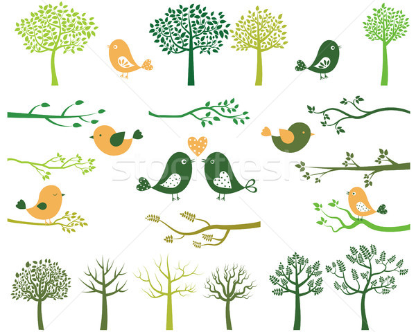 Green trees and branches silhouettes and birds Stock photo © Pravokrugulnik
