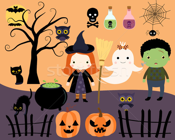 Halloween design elements with cartoon characters in flat style. Stock photo © Pravokrugulnik