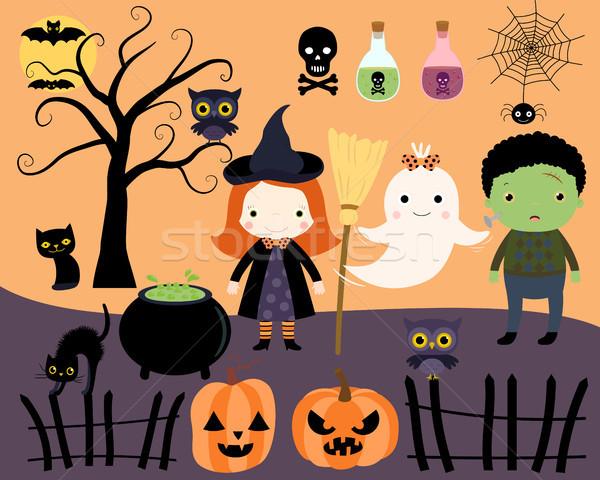 Halloween dizayn elemanları karikatür stil Stok fotoğraf © Pravokrugulnik