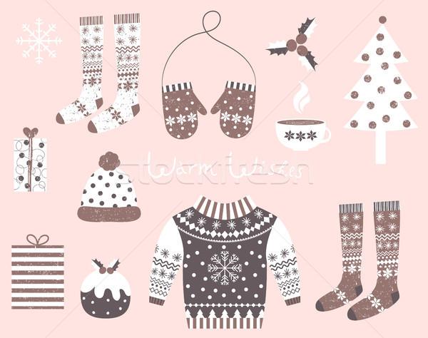 Foto d'archivio: Vettore · inverno · vestiti · simboli · stile · rosolare