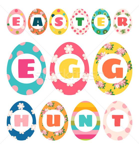 Easter egg hunt renkli dizayn afişler tebrik Stok fotoğraf © Pravokrugulnik