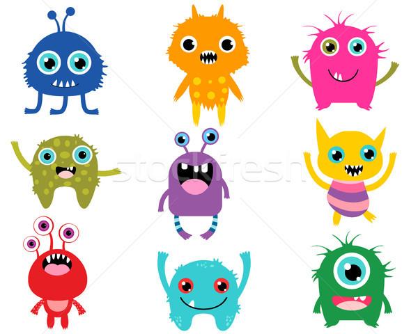 Bonitinho desenho animado monstros festa cara crianças Foto stock © Pravokrugulnik