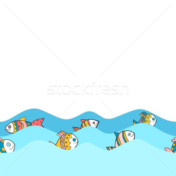 Cute seamless border pattern with sea waves and colorful cartoon fish Stock photo © Pravokrugulnik