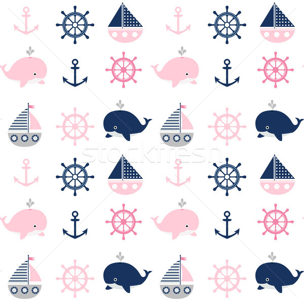 Cute seamless nautical pattern with whales and boats  Stock photo © Pravokrugulnik