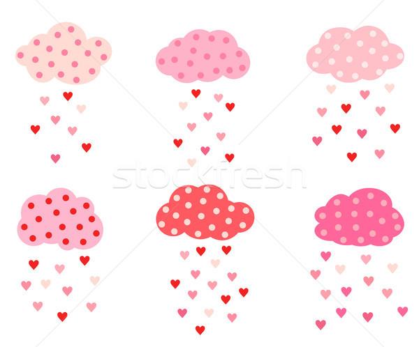 Corte vector establecer nubes corazones rosa Foto stock © Pravokrugulnik