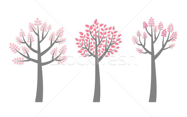 Vector bomen roze bladeren uitnodigingen Stockfoto © Pravokrugulnik