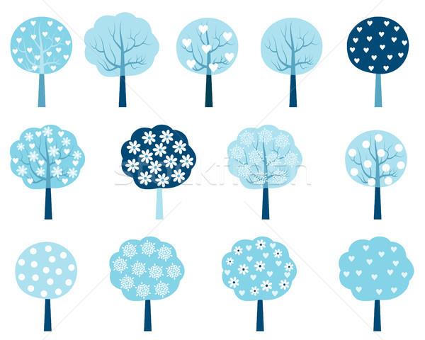Vetor inverno árvores conjunto azul branco Foto stock © Pravokrugulnik