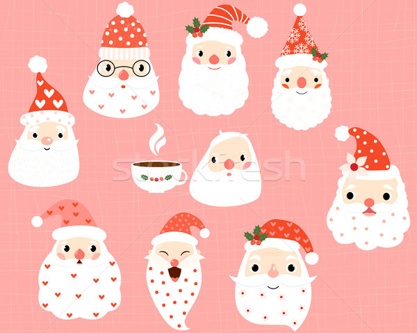 Cute hipster and funny Santa Claus heads and faces Stock photo © Pravokrugulnik