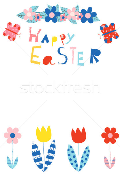 Happy Easter greeting card, invitation, brochure or template Stock photo © Pravokrugulnik