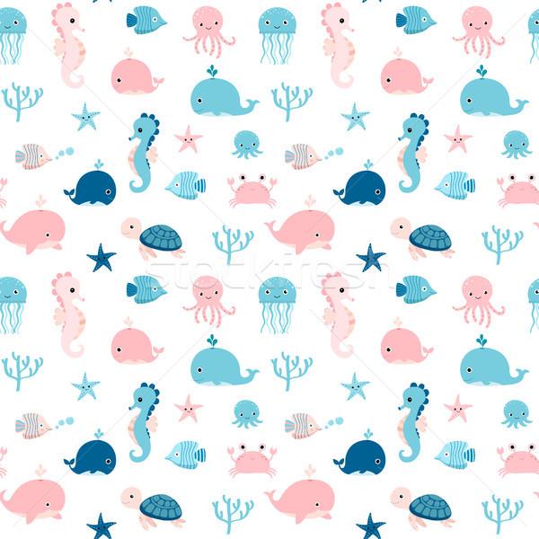 Bonitinho verão animais marinhos azul rosa Foto stock © Pravokrugulnik