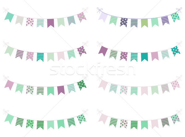Mint and violet buntings with stripes and dots Stock photo © Pravokrugulnik