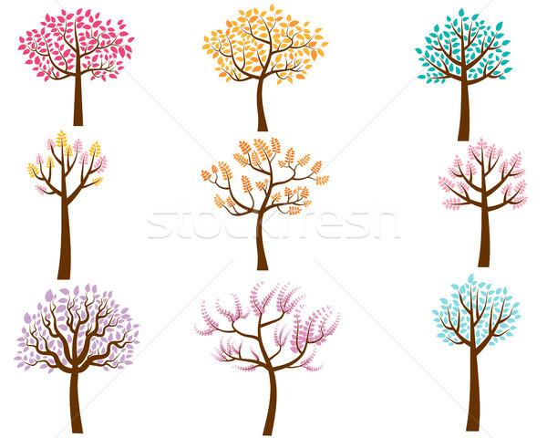 Vector Set of Colorful Trees in Flat Style Stock photo © Pravokrugulnik