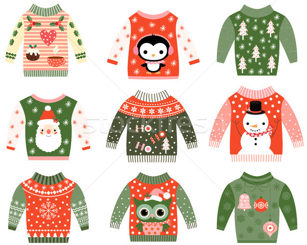 Cute ugly Christmas sweater designs vector set, Sweater party invitation clip art collection in red  Stock photo © Pravokrugulnik