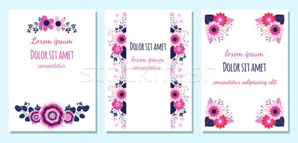 Floral boda invitaciones saludo tarjetas rosa Foto stock © Pravokrugulnik