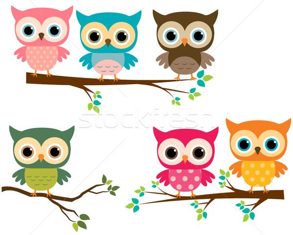 Vector Set of Cute Owls and Cartoon Branches Stock photo © Pravokrugulnik