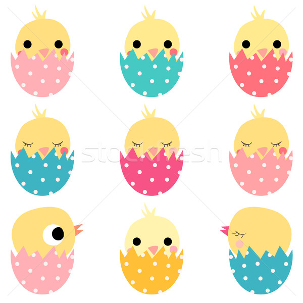 Cute Easter hatching chickens in colored eggs Stock photo © Pravokrugulnik