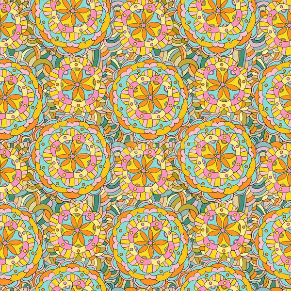 Beautiful hand drawn vector pattern in bright, vivid colors with floral mandala motifs for clothing, Stock photo © Pravokrugulnik