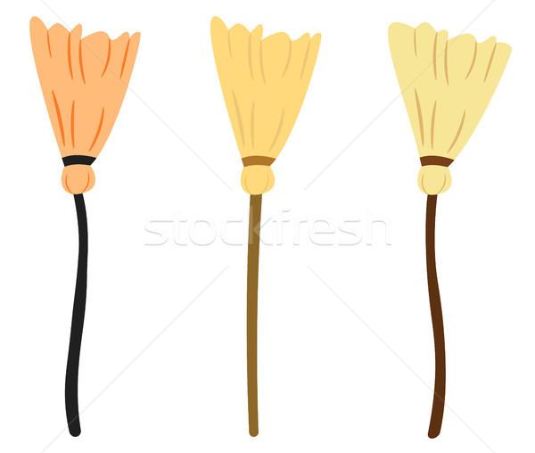 Süpürge vektör çizim stil ahşap renk Stok fotoğraf © Pravokrugulnik