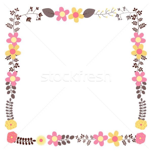 Cuadrados vector floral marco plantilla boda Foto stock © Pravokrugulnik