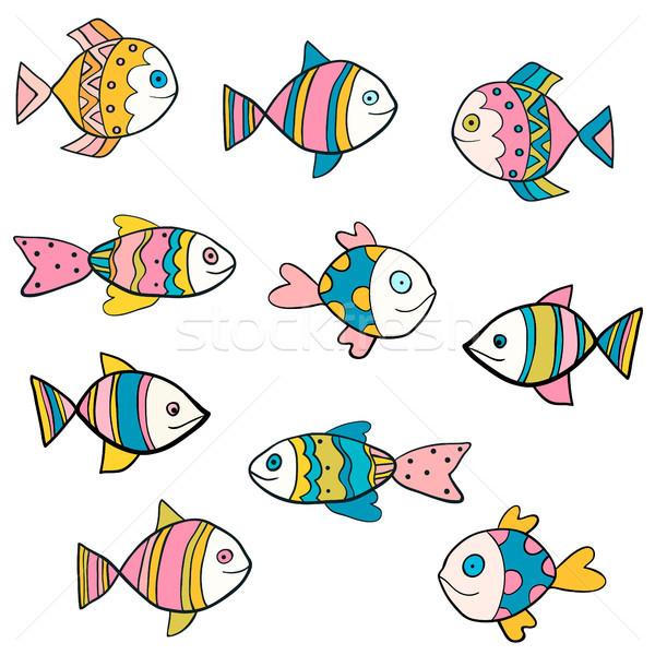 Cute leuk kleurrijk vector vis tekeningen Stockfoto © Pravokrugulnik