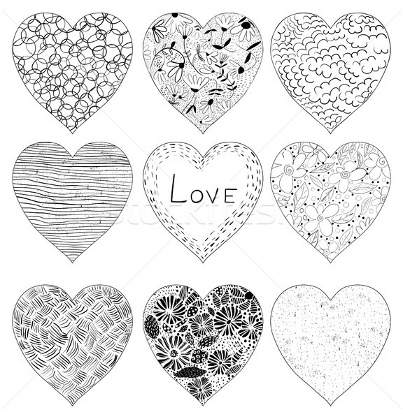 Hand drawn doodle vector hearts in black with strokes Stock photo © Pravokrugulnik
