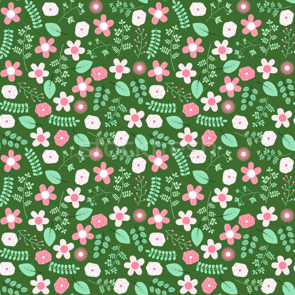 Stock photo: Cute green spring or summer seamless pattern design with flowers