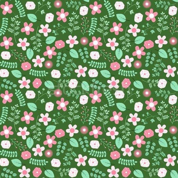 Cute green spring or summer seamless pattern design with flowers Stock photo © Pravokrugulnik