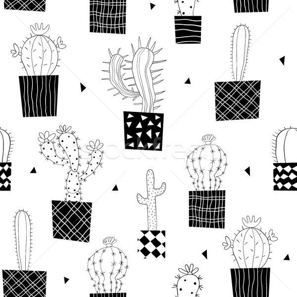 Vektor végtelen minta feketefehér kaktusz növények dizájnok Stock fotó © Pravokrugulnik
