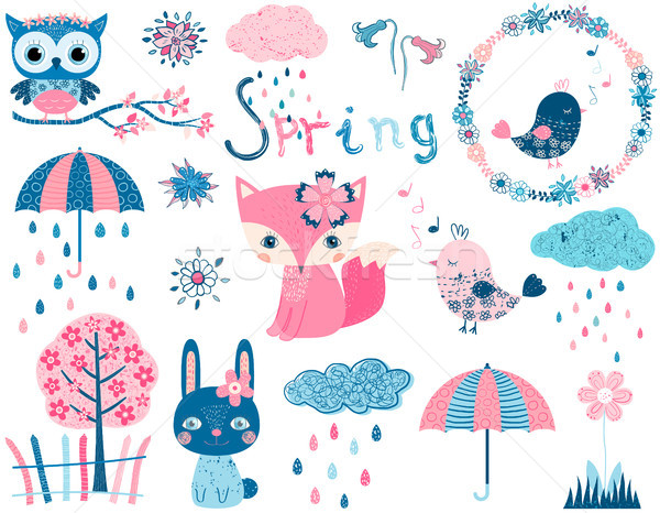 Stock photo: Cute vector set with animal characters and graphic design elements