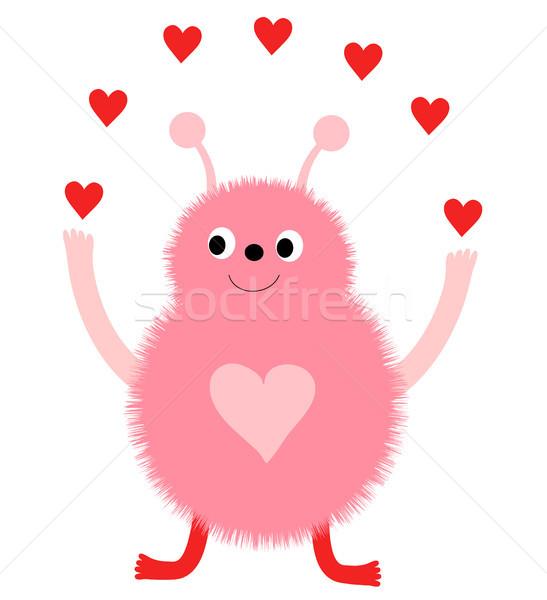 Aranyos vektor üdvözlőlap rózsaszín vicces szörny Stock fotó © Pravokrugulnik