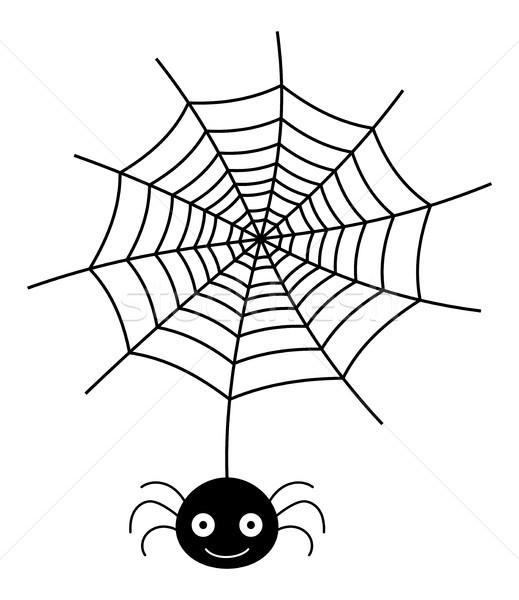 Vektör asılı örümcek ağı siluet ikon beyaz Stok fotoğraf © Pravokrugulnik