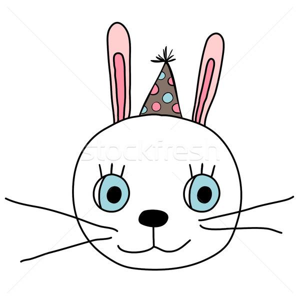 Bonitinho coelho cara diversão festa seis Foto stock © Pravokrugulnik
