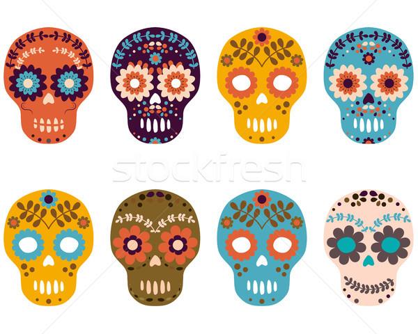 Day of the Dead Sugar Skulls, Colorful Flower Skull Set Stock photo © Pravokrugulnik