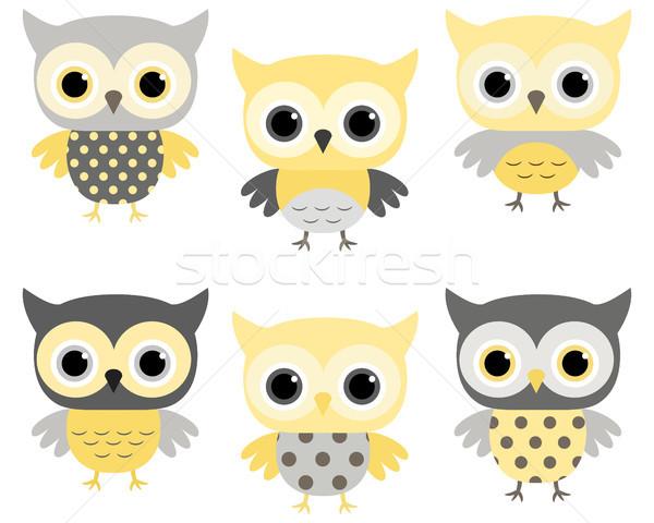 Cute owls in grey and yellow Stock photo © Pravokrugulnik